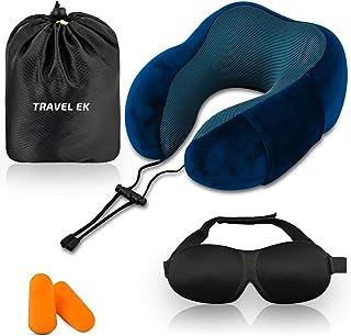 Travel EK Travel Pillow, Memory Foam, with Ear Plugs, Eye Mask, Carry Bag - Adjustable Neck Pillows for Traveling - Flight...