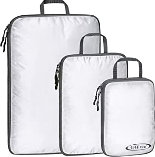 G4Free 3 pcs Compression Packing Cubes - Ultralight Travel Gear Luggage Weekender Accessories Organizer Bags Set(White)
