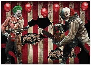 Funnytree 7x5FT Halloween Eve Clown Backdrop Horror Creepy Scary Background Carnival Trunk or Treat Birthday Party Hallowm...