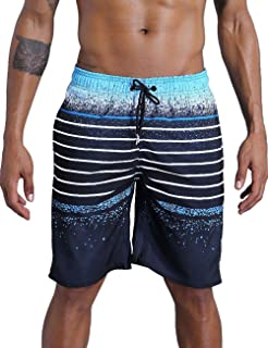 QRANSS Men's Beachwear Summer Holiday Swim Trunks Quick Dry Striped