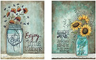 PICTURE IT ON CANVAS Two 12x16 Wall Art Prints Ball Mason Jars Sunflowers Poppies