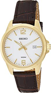 Seiko Mens Quartz Watch, Analog Display and Leather Strap SUR252P1