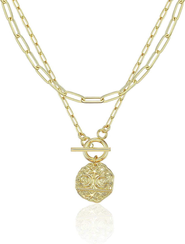 Tarsus 14K Gold Moon Star Evil Eye Pendant Necklace Medallion Paper Clip Chian Choker Layering Jewelry for Women Girls