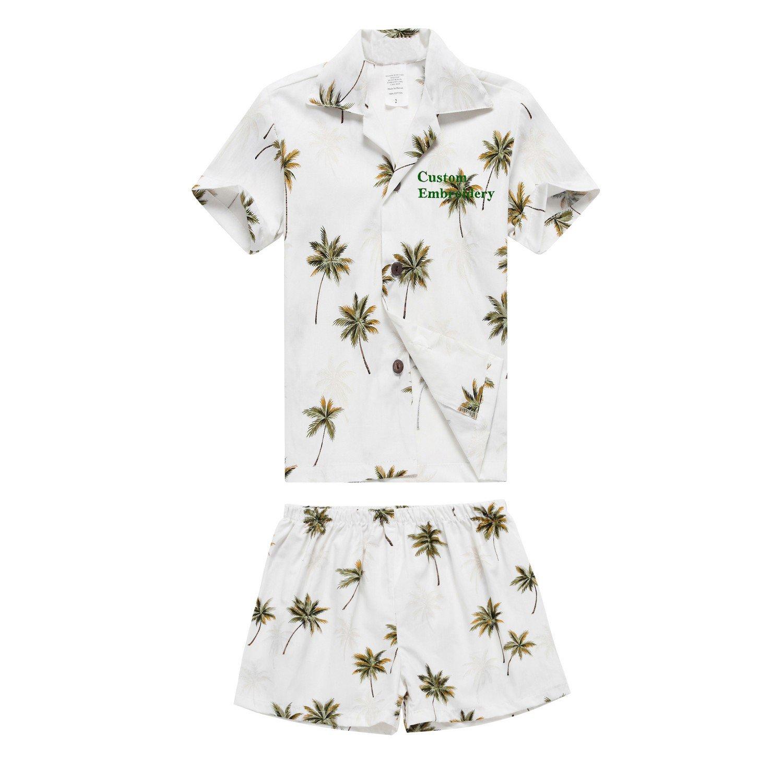 ハワイ製ルアウアロハシャツとショーツボーイカバナセットホワイトティーキ