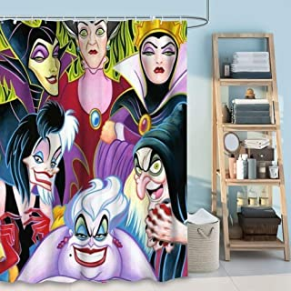DISNEY COLLECTION Shower Curtain Cartoon Characters Disney Villains Ladies Bathroom Shower Curtains with Hooks