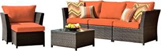 ovios Patio Furniture Set, Backyard Sofa Outdoor Furniture 6 Pcs Sets,PE Rattan Wicker sectional with 2 Pillows and Coffee Table, No Assembly Required (6 Piece, Orange red)