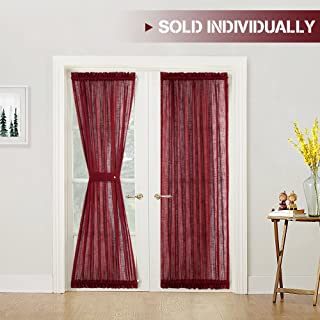 Linen Textured French Door Panel Curtains Privacy Sheer French Door Panels 72 inch Length, 1 Panel, Burgundy, Matching 1 Tieback Included