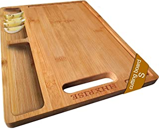 HHXRISE Organic Bamboo Cutting Board For Kitchen, With 3 Built-In Compartments And Juice Grooves, Heavy Duty Chopping Boar...