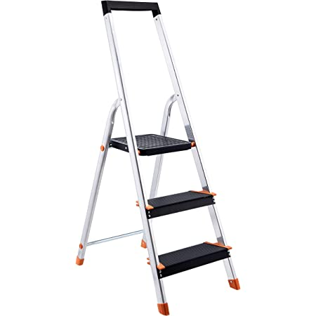 Amazon Basics Folding Step Ladder - 3-Step, Aluminum with Wide Pedal, Silver and Black