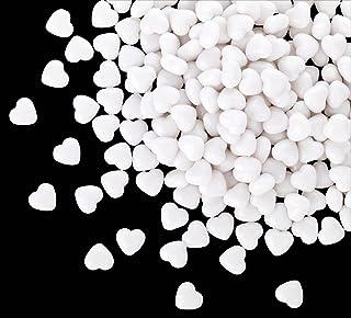 Kleenes Traumhandel - 100 corazones acrílicos blancos de 12 mm de diámetro, piedras decorativas para mesa de fiesta de boda y compromiso, ideal también como decoración dispersa