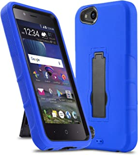 Phone Case for [ZTE ZFIVE G LTE (Z557BL) / ZTE ZFIVE C LTE (Z558VL)], [Impact Series][Blue] Shockproof [Easy Grip] Cover with [Kickstand] (Tracfone, Simple Mobile, Straight Talk, Total Wireless)