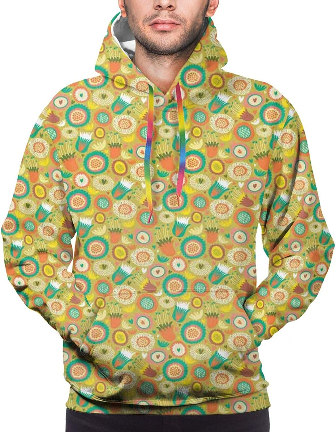 TENJONE Men's Hoodies Sweatshirts,Botanical Pattern with Circles Triangles and Hearts Green Leaves Blooming Daisies