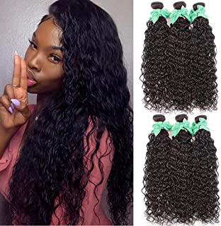 Water Wave Hair 3 Bundles 100% Unprocessed Virgin Brazilian Human Hair Extensions 100g Per Bundle 8A Grade Wet and Wavy Human Hair Bundles Natural Black Color Can be Dyed (14 16 18)