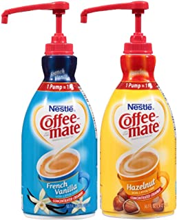 Coffee Mate Liquid Concentrate 1.5 Liter Pump Bottle - 2 Variety Pack Hazelnut & French Vanilla