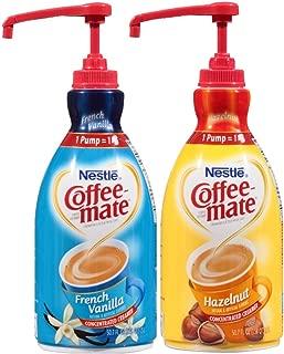 Coffee Mate Liquid Concentrate 1.5 Liter Pump Bottle - Variety 2 Pack (Hazelnut & French Vanilla)