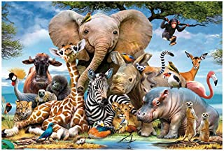 Vivid Collection Puzzles - Wooden Animal Kingdom - 1000 Piece Jigsaw Puzzle Genuine Puzzle Pieces/High Definition Printing...