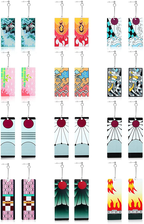 KAREUN 12 Pairs Anime Demon Slayer Tanjiro Cosplay Earrings for Women Men Girls Fashion Double-sided Acrylic Earrings