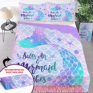 Bonsai Tree Mermaid Duvet Cover Set, Mermaid Tail Scales Twin Comforter Cover, Girls Bed Set of 3 Piece with Zipper Closur...
