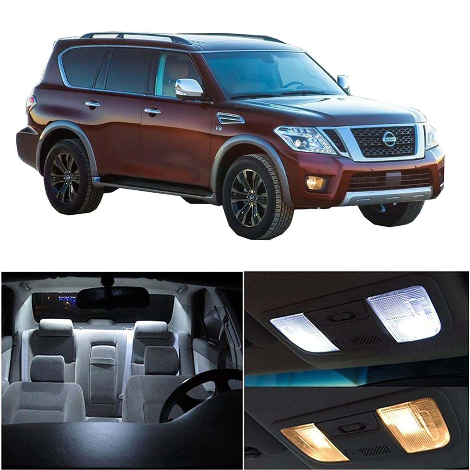 cciyu 12 Pack White LED Bulb LED Interior Lights Accessories Replacement Package Kit Replacement fit for 2010-2017 Nissan Armada