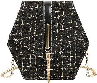 Morran Damen Vintage Schultertasche Umhängetasche Strandtasche Tragetasche Tote Quaste Elegant Bag Color Blocking Purse