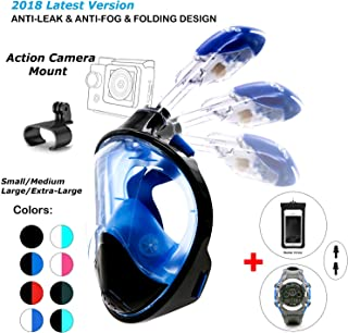 180° Snorkel Mask View for Adults and Youth. Full Face Free Breathing Folding Design.[Free Bonuses] Cell Phone Universal Waterproof Case and 30m Waterproof Watch