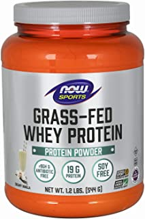 NOW Sports Nutrition, Grass-Fed Whey Protein Concentrate, Creamy Vanilla Powder, 1.2-Pound