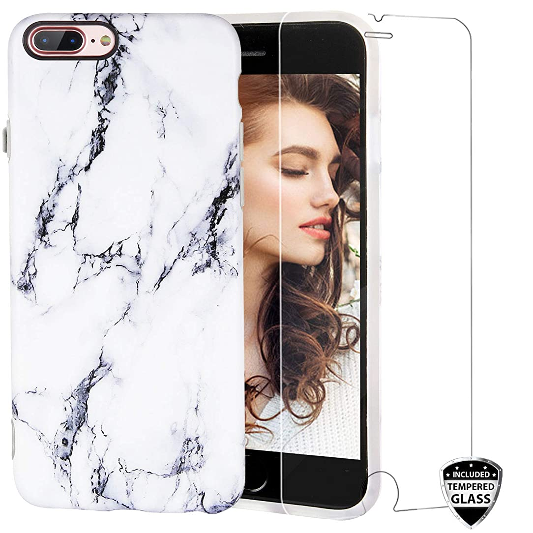 iPhone 7 Plus Phone Case,iPhone 8 Plus Phone Case,REEJAX Cute White Black Marble for Girls Women Slim Bumper Glossy TPU Soft Silicone Protective Phone Case for iPhone 7 Plus/8 Plus[5.5inch]