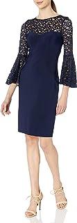 Xscape Women's Short Ity Dress W/Flounce Lace Sleeve