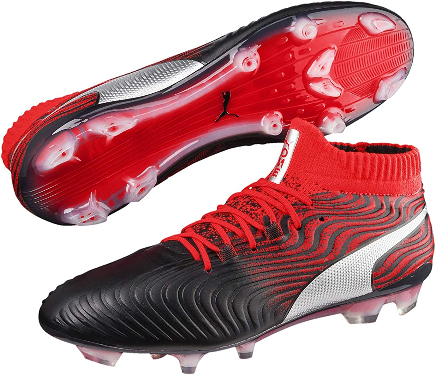 PUMA New ONE 18.1 Syn FG Soccer Cleats Men's Size 7-13 Black Red 104869-01
