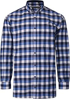 Kam Jeanswear Adults Mens Long Sleeved Checked Shirt 4XL Blue KBS P642 Buttons and Chest Pocket