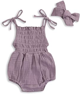 Baby Girls Sleeveless Romper Set Sling Backless Jumpsuit Outfits with Headband