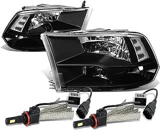 For Dodge Ram 4th Gen Pair of Black Housing Clear Corner Quad Headlight + H8 LED Conversion Kit