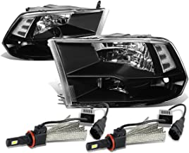 For Dodge Ram 4th Gen Pair of Black Housing Clear Corner Quad Headlight + H8 LED Conversion Kit