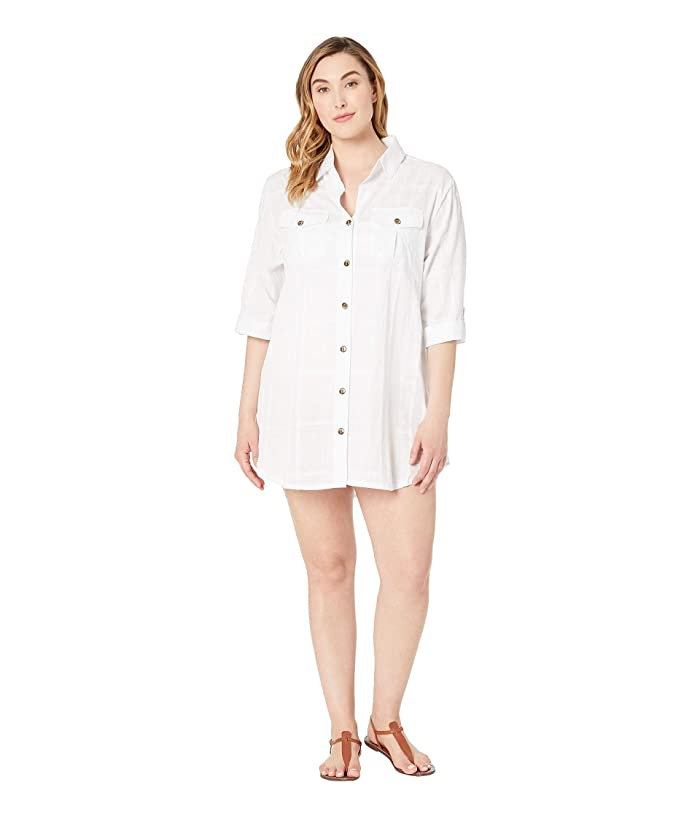 DOTTI Plus Size On Island Time Shirtdress Cover-Up (White) Women