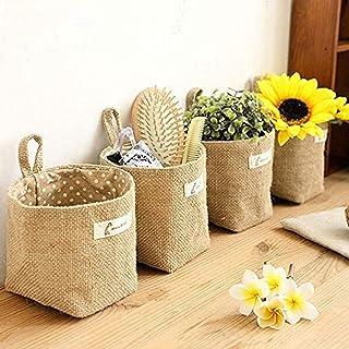 Amatt Lot de 4 sacs de rangement à suspendre, en coton et lin, panier de rangement pliable avec poignée pour jouets, maqui...