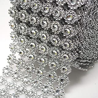 Silver Diamond Flower Shape Mesh Wrap Roll Faux Rhinestone Crystal Ribbon 4