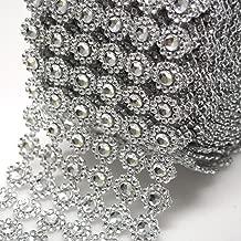 Silver Diamond Flower Shape Mesh Wrap Roll Faux Rhinestone Crystal Ribbon 4