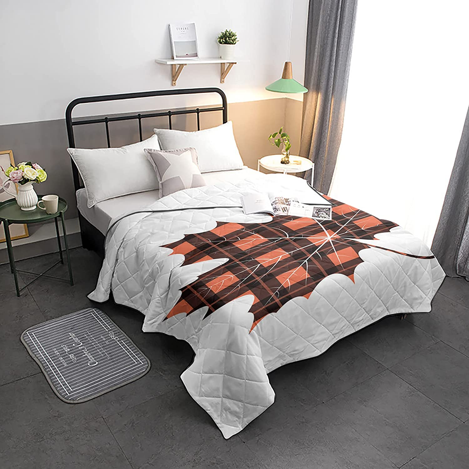 Down Alternative Comforter 70% OFF Outlet Natural Reversible Gingham Leaf Maple Special price for a limited time