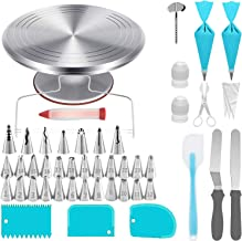 """Cani 12"""" Aluminum Rotating Cake Turntable,100 PCS Cake Decorating Tools Include Revolving Cake Stand 31 Piping Tips 3 Cake..."""