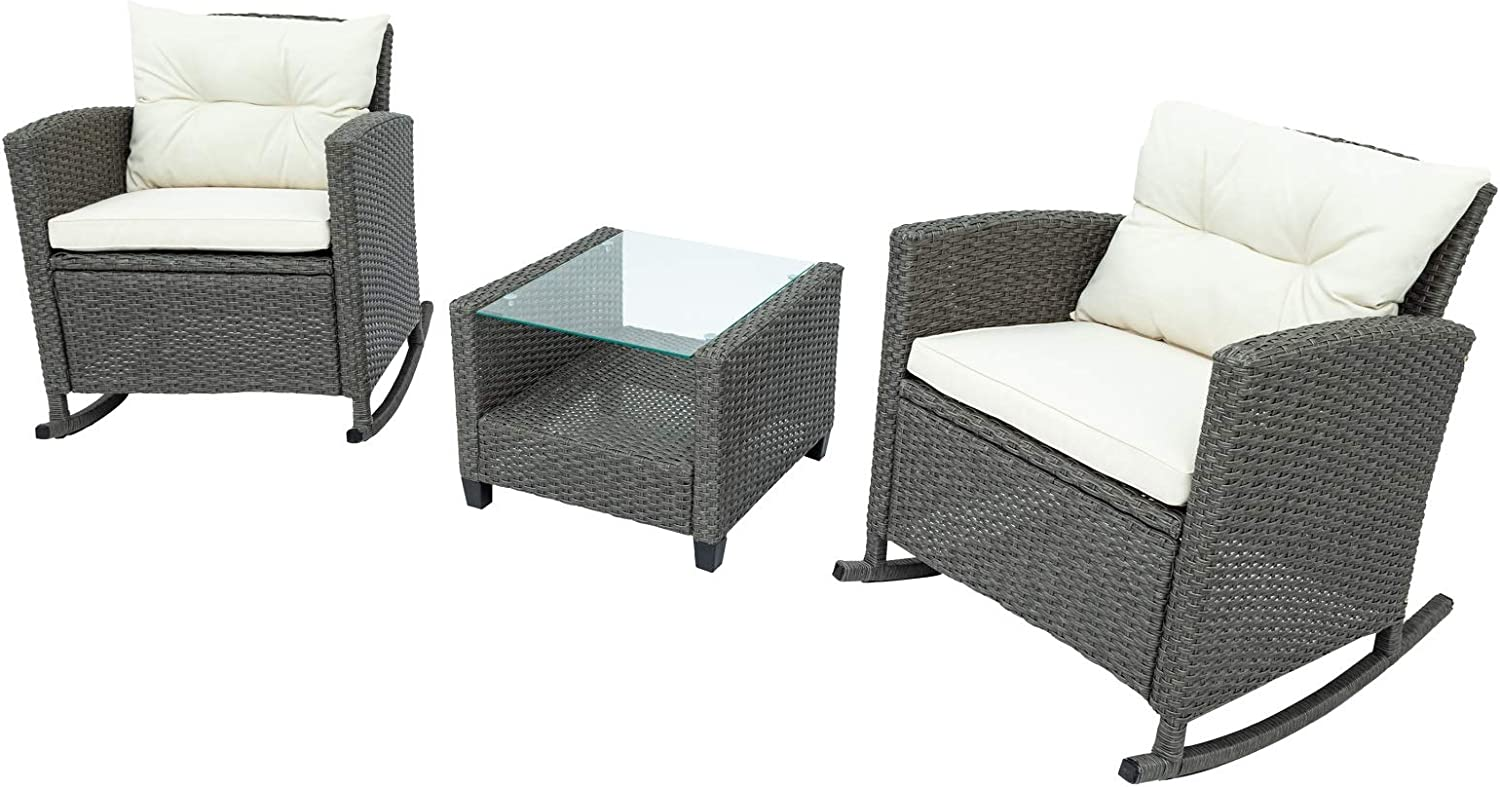 JIMAOD Terrace Furniture Set, Durable Rattan Rattan Weaving, Three-Piece Swing Outdoor Patio Furniture, with Cushions and Coffee Table Glass,Better Homes and Gardens Patio Furniture (Outdoor Sofa)