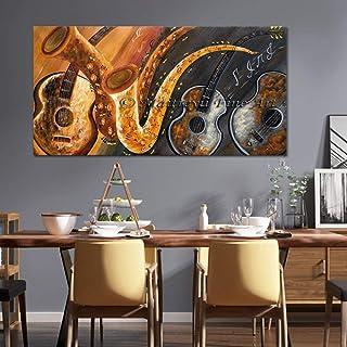 Peinture À l'huile Peinte À La Main sur Toile,Résumé de l'oeuvre d'instruments de musique,Peinture murale moderne Pop Art ...