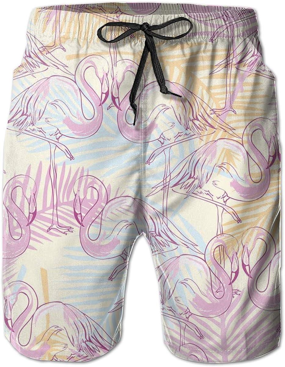 YongColer Men Beach Board Shorts Surfing Swimwear Swim Trunks (Love Flamingo Heart)