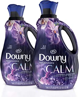 Downy Infusions Liquid Fabric Softener, Calm, Lavender & Vanilla Bean, Two 56 Fl. Oz. Bottles, 112 Total Loads