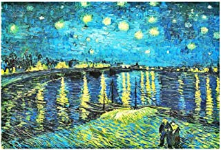 100 Piece Jigsaw Puzzles Starry Night Over the Rhone River Jigsaw Puzzles for Adults Children Kids 15 x 10 Inches