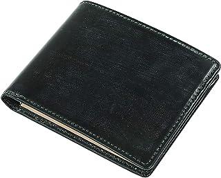 [ブリティッシュグリーン] 二つ折り財布 スリムタイプ 英国製ブライドルレザー使用 薄型 財布 メンズ