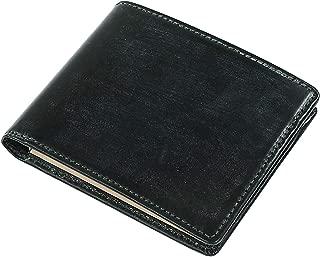 [ブリティッシュグリーン] 英国製ブライドルレザー スリム 二つ折り財布 メンズ 本革 薄型 コンパクト