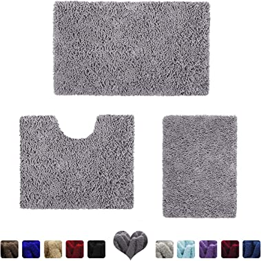 HOMEIDEAS 3 Pieces Bathroom Rugs Set Grey, Extra Soft Chenille Bath Rugs Mat, Absorbent Plush Shaggy Bath Rugs, Machine Washable & Non Slip Bath Rugs for Bathroom, Tub, Shower