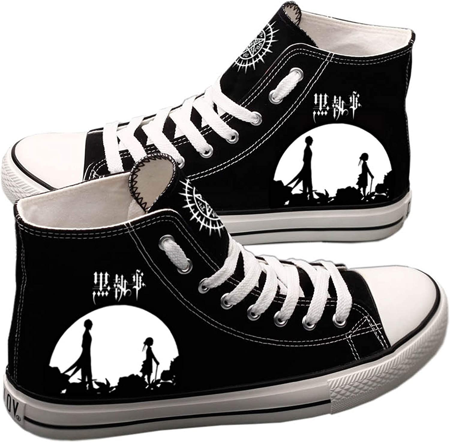 Antetok Black Butler Canvas shoes Hand-Painted Canvas shoes Casual Cosplay Sneakers Unisex Designs
