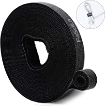 Cable Ties Fastening Tapes Hook and Loop Reusable Straps Wires Cords - 1/2 Width, 200 Length (Black)