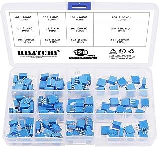 100 Ohm /à 200K Ohm Kit Potentiom/ètre Trimmer Potentiom/ètre 3296W Bleu 50Pcs 10 valeurs de r/ésistance variable